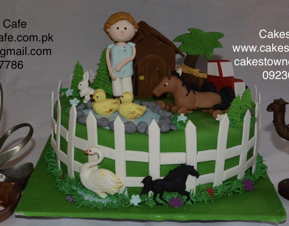 Farm House Themed Cake